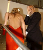 Kevin Costner and wife Christine Baumgartner during Kevin Costner and Christine Baumgartner at Porcelanosa Shop Inauguration May 5 2005 at...