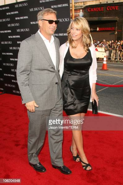 Kevin Costner and wife Christine Baumgartner during 'Mr Brooks' Los Angeles Premiere Arrivals at Gruaman's Chinese Theater in Hollywood California...