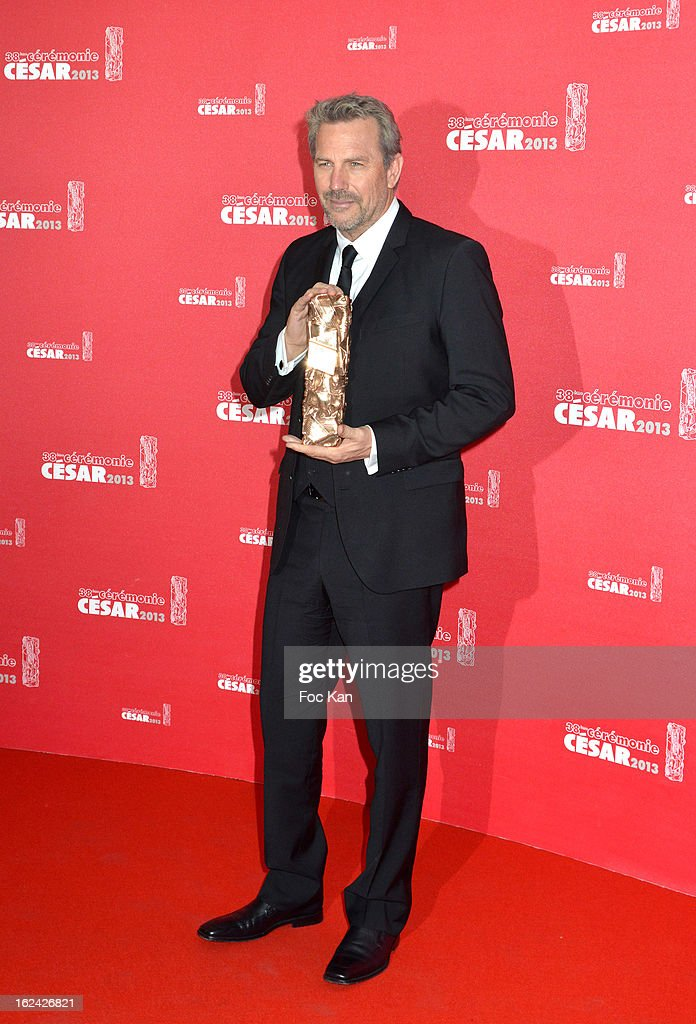 <a gi-track='captionPersonalityLinkClicked' href=/galleries/search?phrase=Kevin+Costner&family=editorial&specificpeople=201719 ng-click='$event.stopPropagation()'>Kevin Costner</a> attends the Awards Room - Cesar Film Awards 2013 at the Theatre du Chatelet on February 22, 2013 in Paris, France.