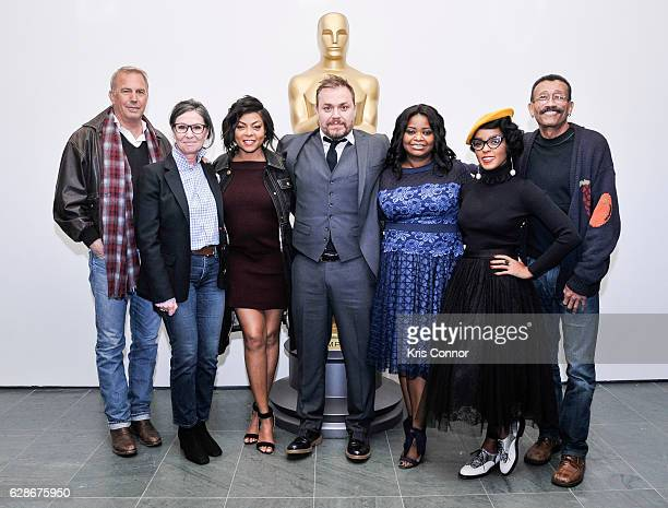 Kevin Costner Donna Gigliotti Taraji P Henson Ted Melfi Octavia Spencer Janelle Monae and Wynn Thomas attend an official academy screening of HIDDEN...