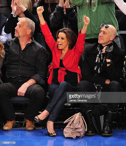 Kevin Costner Eva Longoria and Robert Verdi attend the Dallas Mavericks vs New York Knicks game at Madison Square Garden on February 19 2012 in New...
