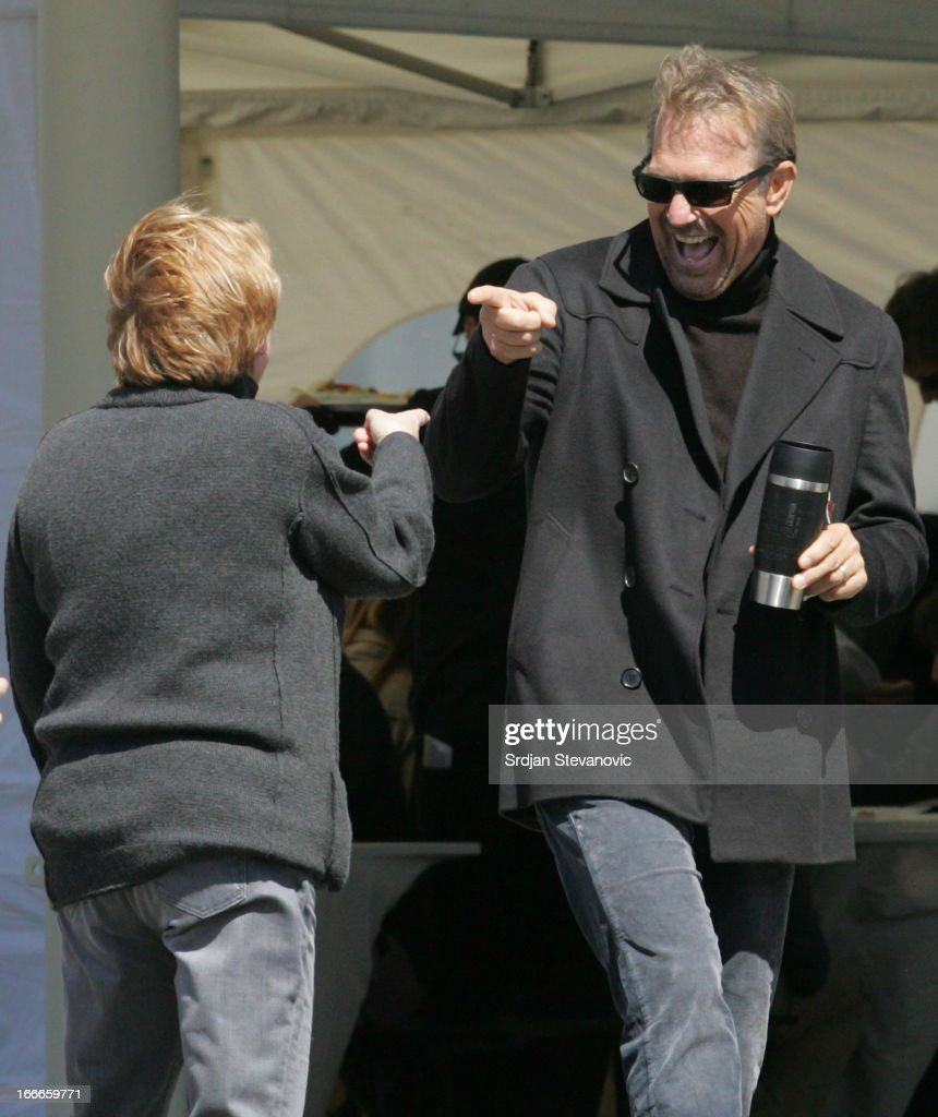 Kevin Costner (R) is seen filming 'Three Days To Kill' on April 15, 2013 in Belgrade, Serbia.