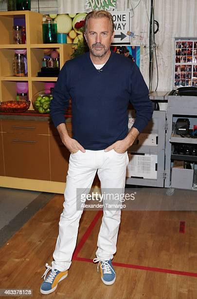 Kevin Costner is seen on the set of Despierta America to promote the film 'McFarland USA' at Univision Studios on February 13 2015 in Miami Florida