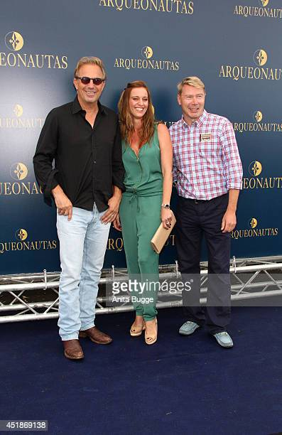 Kevin Costner Marketa Remesova and Mika Haekkinen attend the 'Arqueonautas Presents Kevin Coster Music Meets Fashion' at Spindler Klatt on July 8...