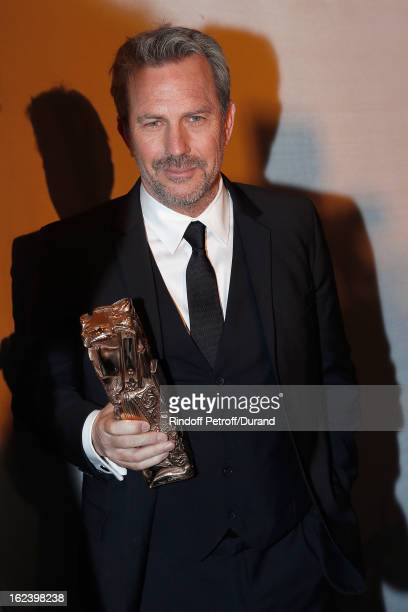 Kevin Costner poses with his Cesar of Honor award during the Cesar Film Awards 2013 at Theatre du Chatelet on February 22 2013 in Paris France