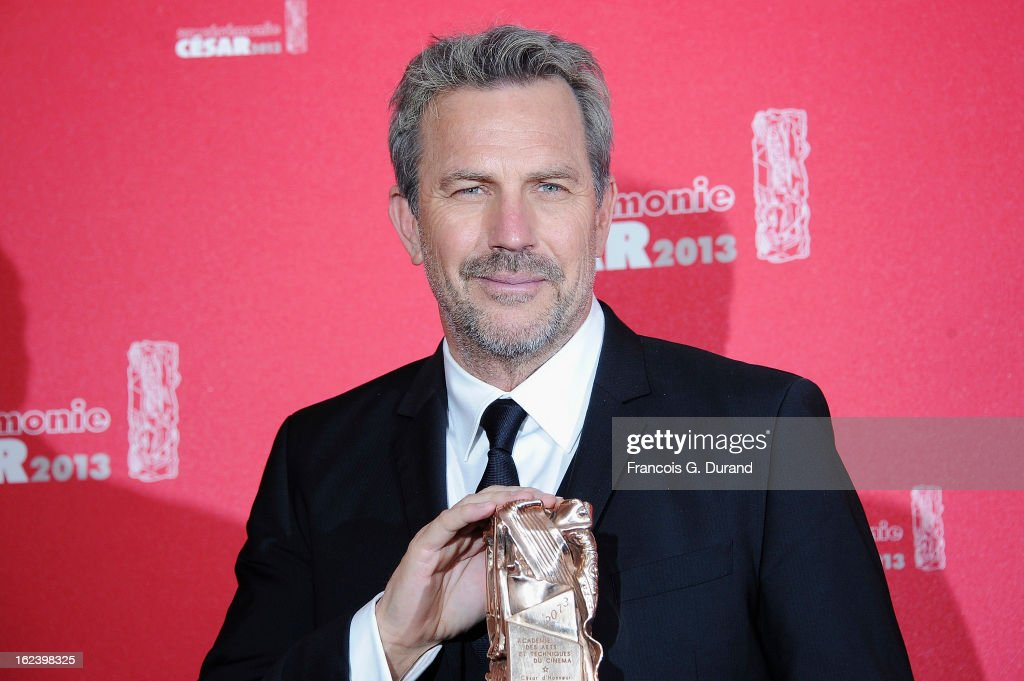 <a gi-track='captionPersonalityLinkClicked' href=/galleries/search?phrase=Kevin+Costner&family=editorial&specificpeople=201719 ng-click='$event.stopPropagation()'>Kevin Costner</a> poses with his trophy after receiving a lifetime achievement award during the Cesar Film Awards 2013 at Theatre du Chatelet on February 22, 2013 in Paris, France.