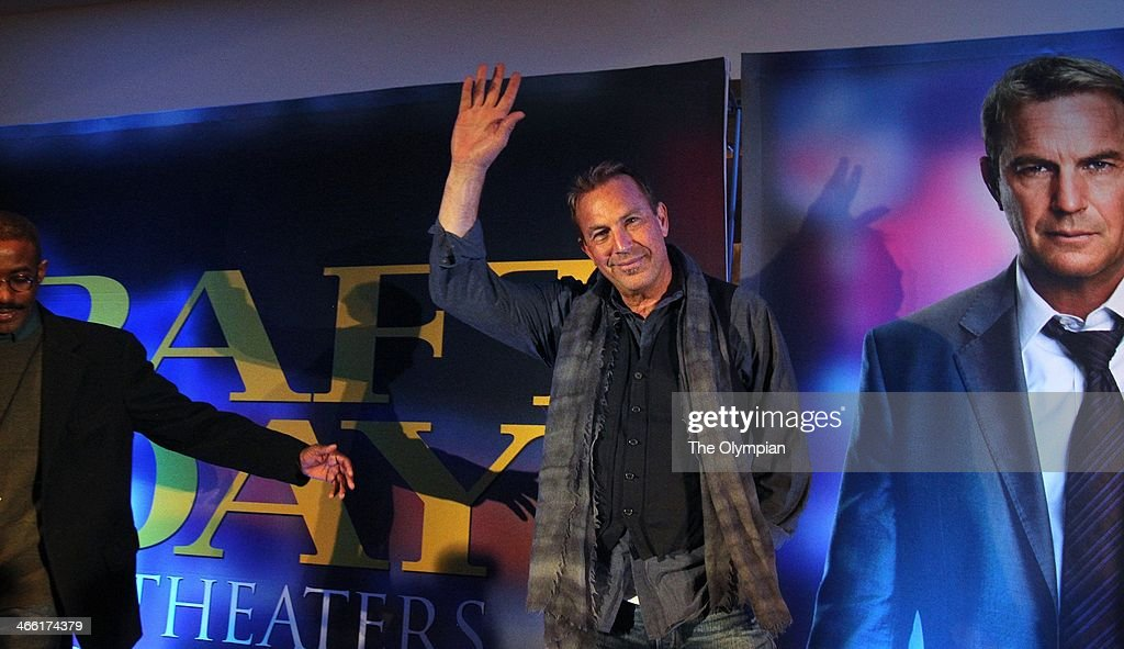 Kevin Costner waves goodbye as he leaves a news conference for the movie 'Draft Day' at the Sheraton Times Square in New York on Friday Jan 31 2014