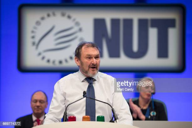 Kevin Courtney General Secretary of the National Union of Teachers makes his address to the annual NUT Conference in St David's Hall on April 18 2017...
