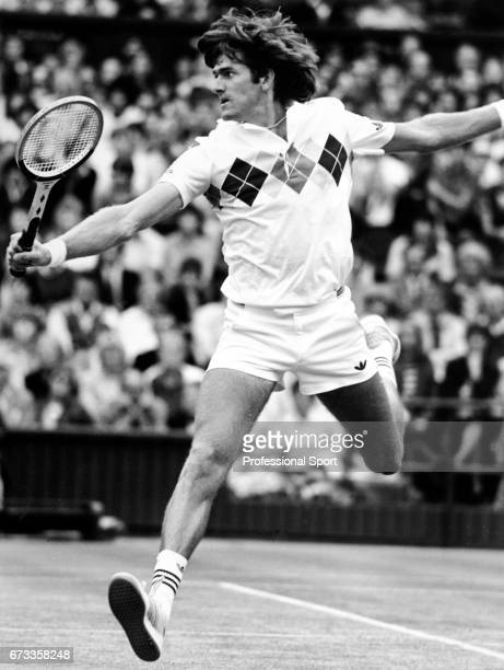 Kevin Curren of South Africa in action on Centre Court during the Wimbledon Championships held at the All England Lawn Tennis and Croquet Club in...