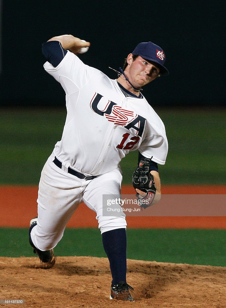 Kevin Davis of United States pitches during the U18 Baseball World Championship match between Japan and the United States at Mokdong stadium on September 7, 2012 in Seoul, South Korea.