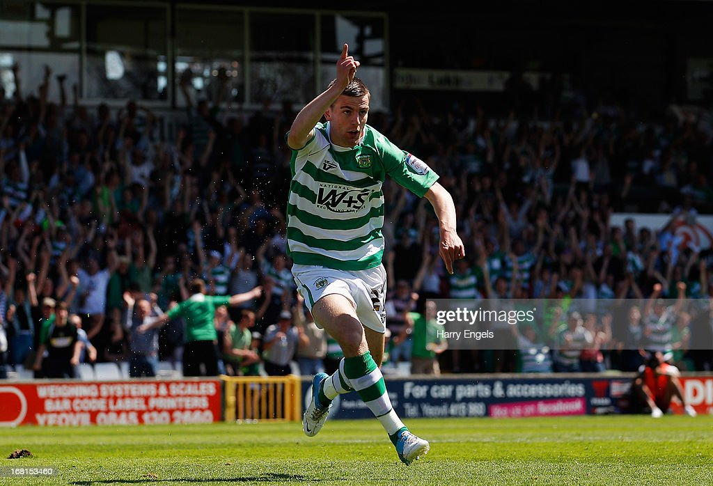 Kevin Dawson of Yeovil Town celebrates scoring the opening goal during the npower League One Play Off Semi Final second leg match between Yeovil Town and Sheffield United at Huish Park on May 6, 2013 in Yeovil, England.