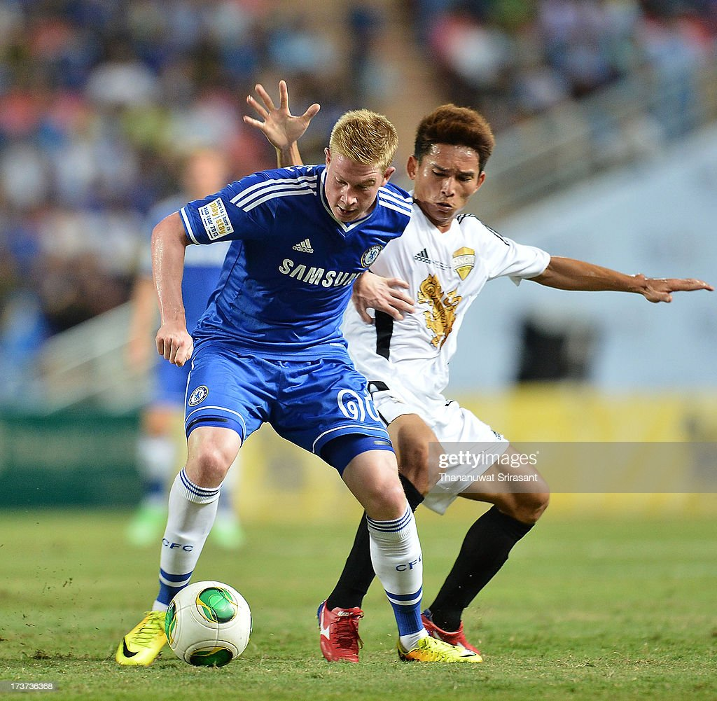 Kevin De Bruyne Chelsea FC player with the ball during the international friendly match between Chelsea FC and the Singha Thailand All-Star XI at Rajamangala stadium on July 17, 2013 in Bangkok, Thailand.
