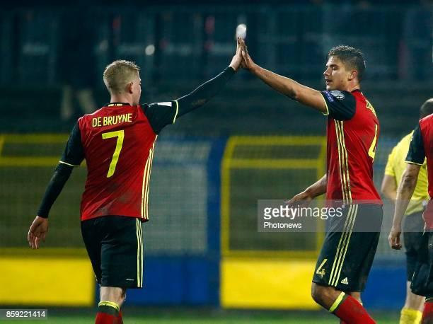 Kevin De Bruyne forward of Belgium and Leander Dendoncker midfielder of Belgium celebrates during the World Cup Qualifier Group H match between...