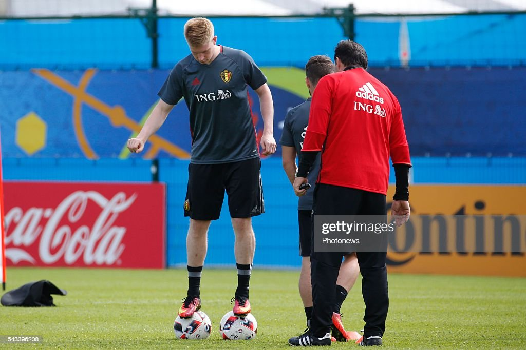Kevin De Bruyne forward of Belgium and Marc Wilmots head coach of Belgian Team during a training session of the National Soccer Team of Belgium as part of the preparation prior to the UEFA EURO 2016 quarter final match between Wales and Belgium at the Chateau de Haillan training center on June 28, 2016 in Bordeaux, France ,