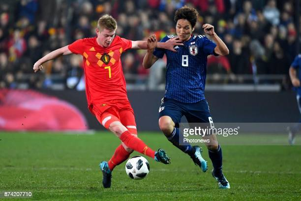 Kevin De Bruyne forward of Belgium Haraguchi Genki forward of Japan during the World Cup Friendly Preparation match between Belgium and Japan on...