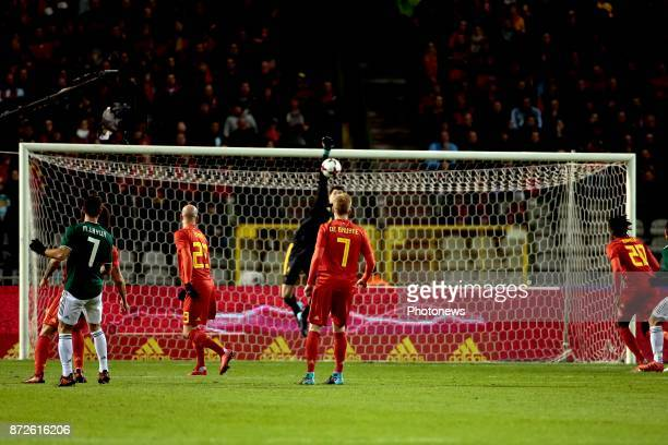 Kevin De Bruyne forward of Belgium looks Thibaut Courtois goalkeeper of Belgium during a FIFA international friendly match between Belgium and Mexico...