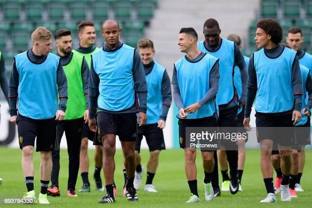 Kevin De Bruyne forward of Belgium Vincent Kompany defender of Belgium Kevin Mirallas forward of Belgium and Axel Witsel midfielder of Belgium...