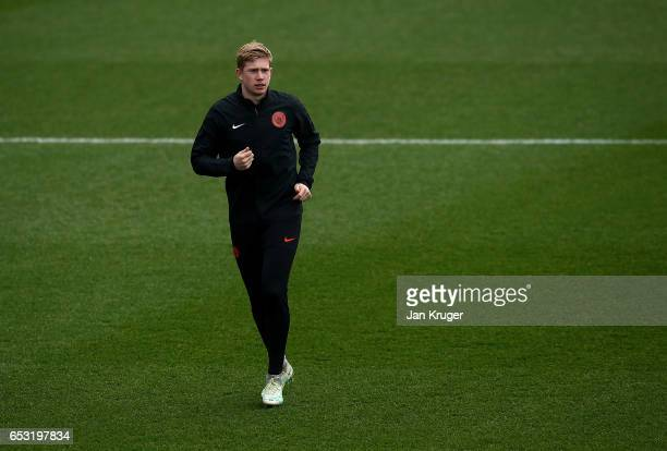 Kevin de Bruyne in action during a Manchester City training session prior to the UEFA Champions League Round of 16 Second Leg match against Monaco at...