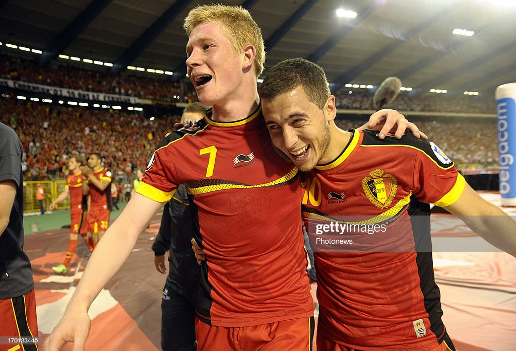 Kevin De Bruyne of Belgium and <a gi-track='captionPersonalityLinkClicked' href=/galleries/search?phrase=Eden+Hazard&family=editorial&specificpeople=5539543 ng-click='$event.stopPropagation()'>Eden Hazard</a> of Belgium celebrates the win during the FIFA 2014 World Cup Group A qualifying match between Belgium and Serbia at the King Baudouin stadium on June 07, 2013 in Brussels, Belgium.