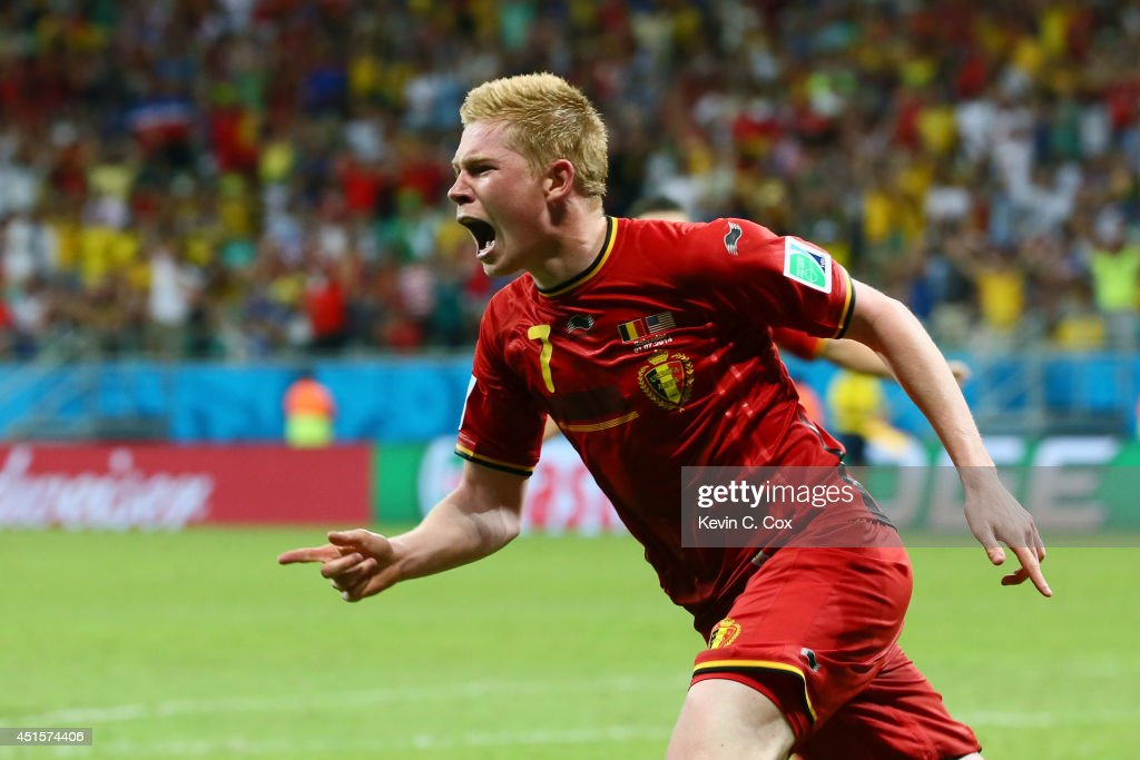 <a gi-track='captionPersonalityLinkClicked' href=/galleries/search?phrase=Kevin+De+Bruyne&family=editorial&specificpeople=6165471 ng-click='$event.stopPropagation()'>Kevin De Bruyne</a> of Belgium celebrates after scoring his team's first goal in extra time during the 2014 FIFA World Cup Brazil Round of 16 match between Belgium and the United States at Arena Fonte Nova on July 1, 2014 in Salvador, Brazil.