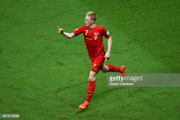 Kevin De Bruyne of Belgium celebrates after scoring his team's first goal in extra time during the 2014 FIFA World Cup Brazil Round of 16 match...