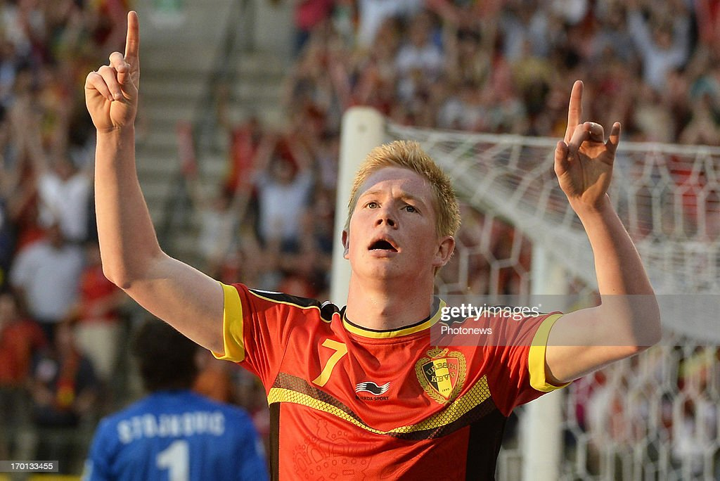 Kevin De Bruyne of Belgium celebrates scoring during the FIFA 2014 World Cup Group A qualifying match between Belgium and Serbia at the King Baudouin stadium on June 07, 2013 in Brussels, Belgium.