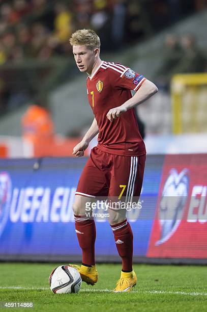 Kevin de Bruyne of Belgium during the International friendly match between Belgium and Wales on November 16 2014 at the Koning Boudewijn stadium in...
