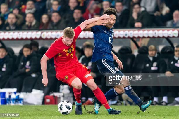 Kevin de Bruyne of Belgium Genki Haraguchi of Japan during the friendly match between Belgium and Japan on November 14 2017 at the Jan Breydel...