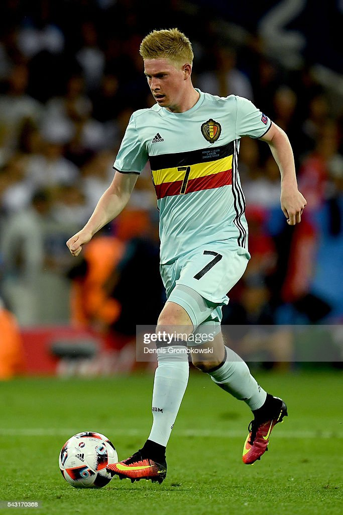 <a gi-track='captionPersonalityLinkClicked' href=/galleries/search?phrase=Kevin+De+Bruyne&family=editorial&specificpeople=6165471 ng-click='$event.stopPropagation()'>Kevin De Bruyne</a> of Belgium in action during the UEFA EURO 2016 round of 16 match between Hungary and Belgium at Stadium Municipal on June 26, 2016 in Toulouse, France.
