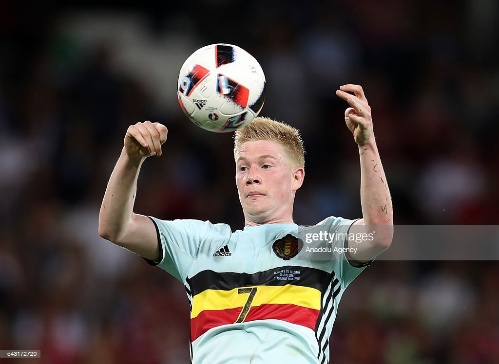 Kevin De Bruyne of Belgium in action during the UEFA Euro 2016 round of 16 football match between Hungary and Belgium at Stadium Municipal in Toulouse, France on June 26, 2016.