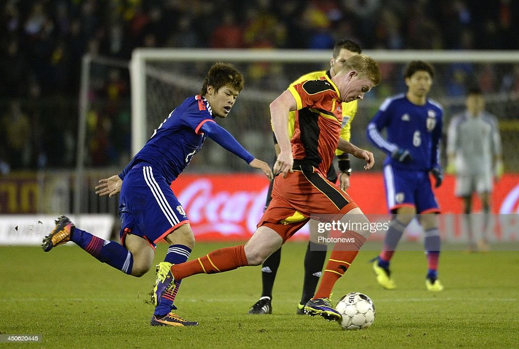 Kevin De Bruyne of Belgium pictured during the international friendly match before the World Cup in Brasil between Belgium and Japan on November 19, 2013 in Brussels, Belgium