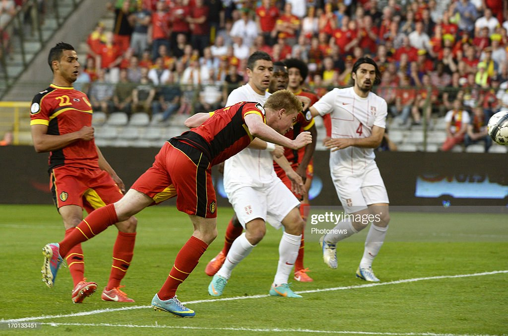 Kevin De Bruyne of Belgium scores a goal during the FIFA 2014 World Cup Group A qualifying match between Belgium and Serbia at the King Baudouin stadium on June 07, 2013 in Brussels, Belgium.