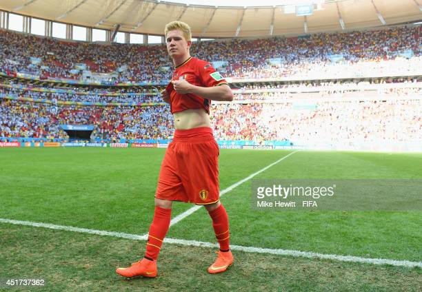 Kevin De Bruyne of Belgium shows his dejection while walking off the pitch after the 01 defeat in the 2014 FIFA World Cup Brazil Quarter Final match...