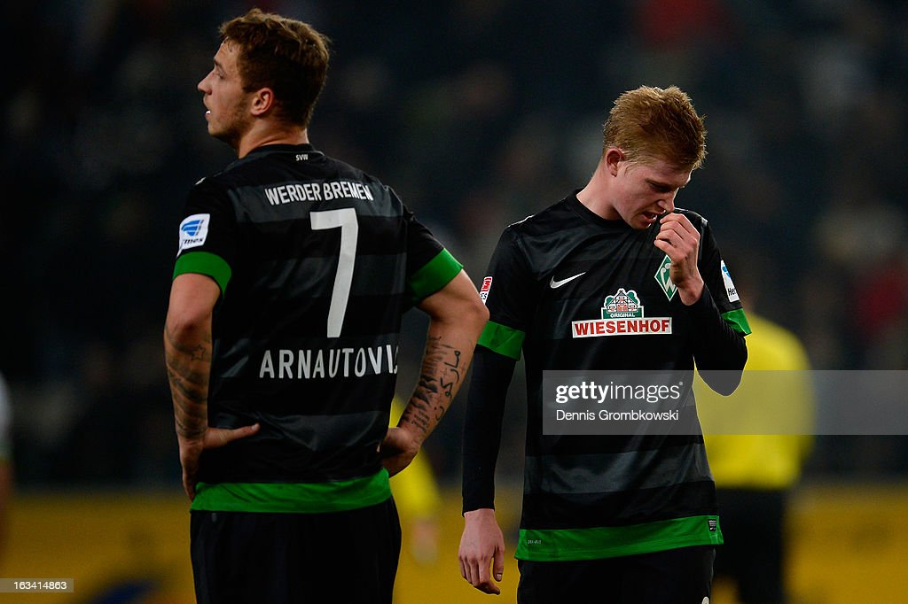 <a gi-track='captionPersonalityLinkClicked' href=/galleries/search?phrase=Kevin+De+Bruyne&family=editorial&specificpeople=6165471 ng-click='$event.stopPropagation()'>Kevin De Bruyne</a> of Bremen reacts after the Bundesliga match between VfL Borussia Moenchengladbach and SV Werder Bremen at Borussia Park Stadium on March 9, 2013 in Moenchengladbach, Germany.
