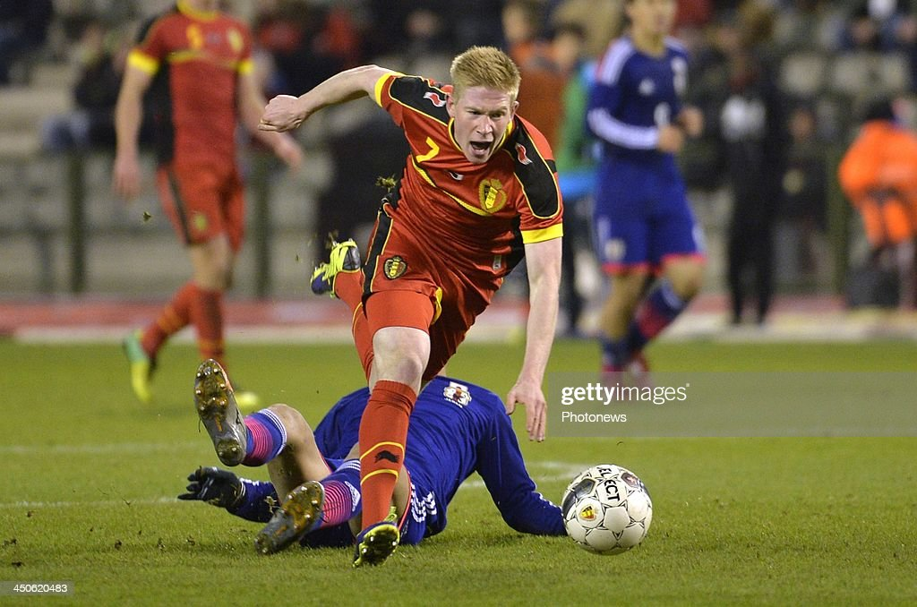 Kevin De Bruyne of Chelsea FC pictured during the international friendly match before the World Cup in Brasil between Belgium and Japan on November 19, 2013 in Brussels, Belgium