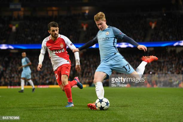 Kevin De Bruyne of City in action during the UEFA Champions League Round of 16 first leg match between Manchester City FC and AS Monaco at Etihad...