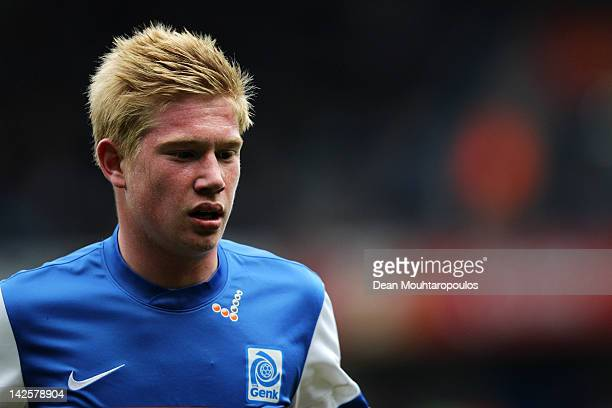 Kevin De Bruyne of Genk looks on during the Jupiler League match between KRC Genk and KAA Gent at the Cristal Arena on April 7 2012 in Genk Belgium