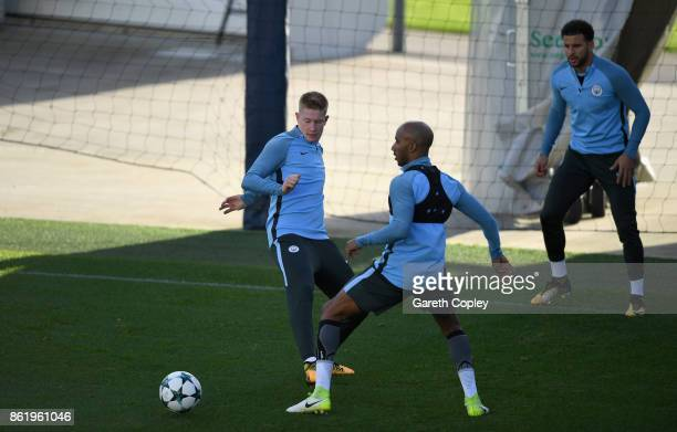 Kevin De Bruyne of Manchester City and Fabian Delph of Manchester City train during the Manchester City Training Session at the Etihad Stadium on...