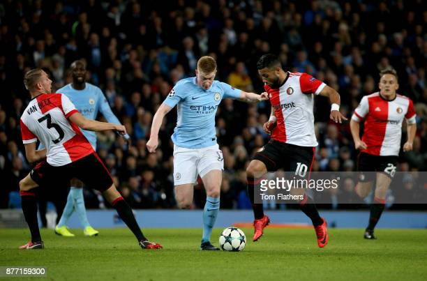 Kevin De Bruyne of Manchester City and fe10 in action during the UEFA Champions League group F match between Manchester City and Feyenoord at Etihad...