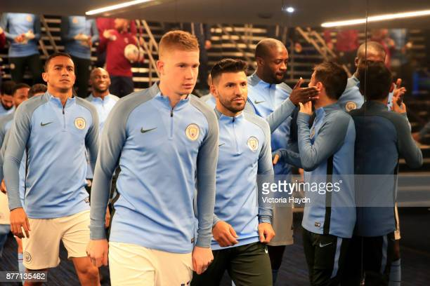 Kevin De Bruyne of Manchester City and Sergio Aguero of Manchester City looks on prior to the UEFA Champions League group F match between Manchester...