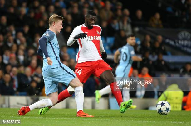 Kevin De Bruyne of Manchester City and Tiemoue Bakayoko of Monaco in action during the UEFA Champions League Round of 16 first leg match between...