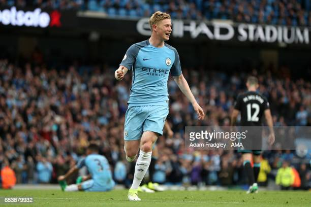 Kevin De Bruyne of Manchester City celebrates after scoring a goal to make it 20 during the Premier League match between Manchester City and West...
