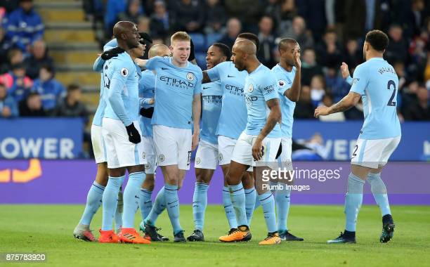 Kevin De Bruyne of Manchester City celebrates after scoring to make it 02 during the Premier League match between Leicester City and Manchester City...