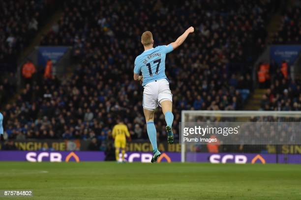 Kevin de Bruyne of Manchester City celebrates after scoring to put his team 20 ahead during the Premier League match between Leicester City and...