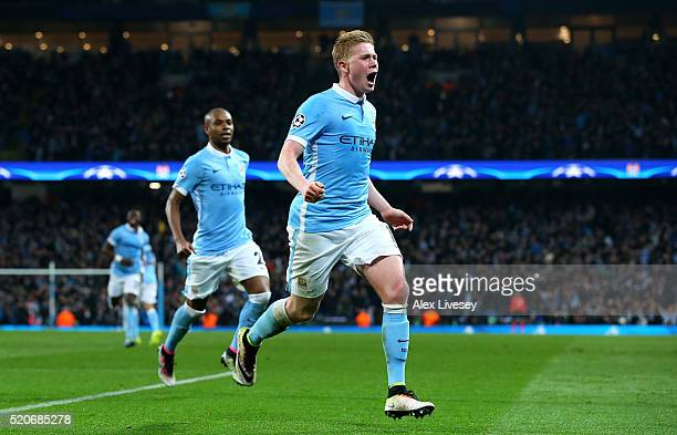 Kevin de Bruyne of Manchester City celebrates as he scores their first goal during the UEFA Champions League quarter final second leg match between...