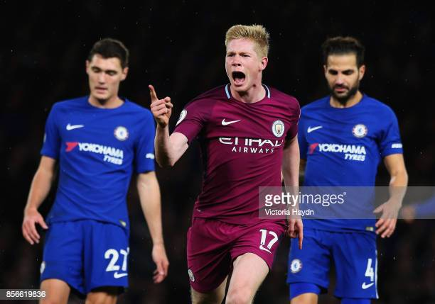 Kevin De Bruyne of Manchester City celebrates scoring his sides first goal during the Premier League match between Chelsea and Manchester City at...
