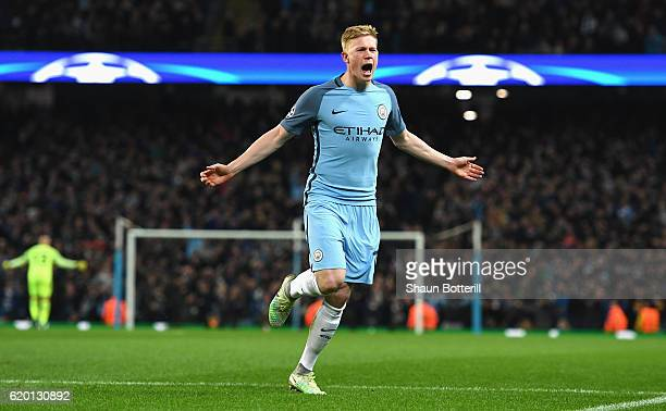 Kevin De Bruyne of Manchester City celebrates scoring his sides second goal during the UEFA Champions League Group C match between Manchester City FC...