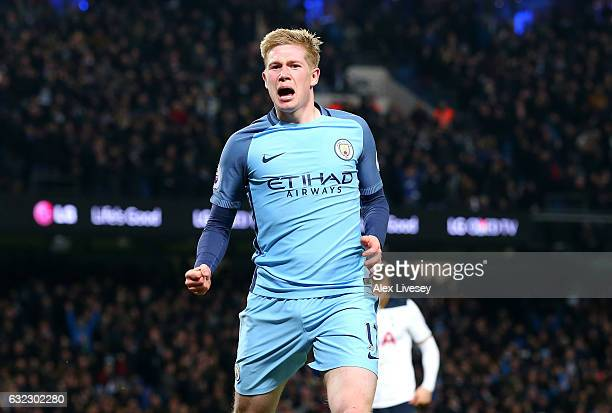 Kevin De Bruyne of Manchester City celebrates scoring his sides second goal during the Premier League match between Manchester City and Tottenham...