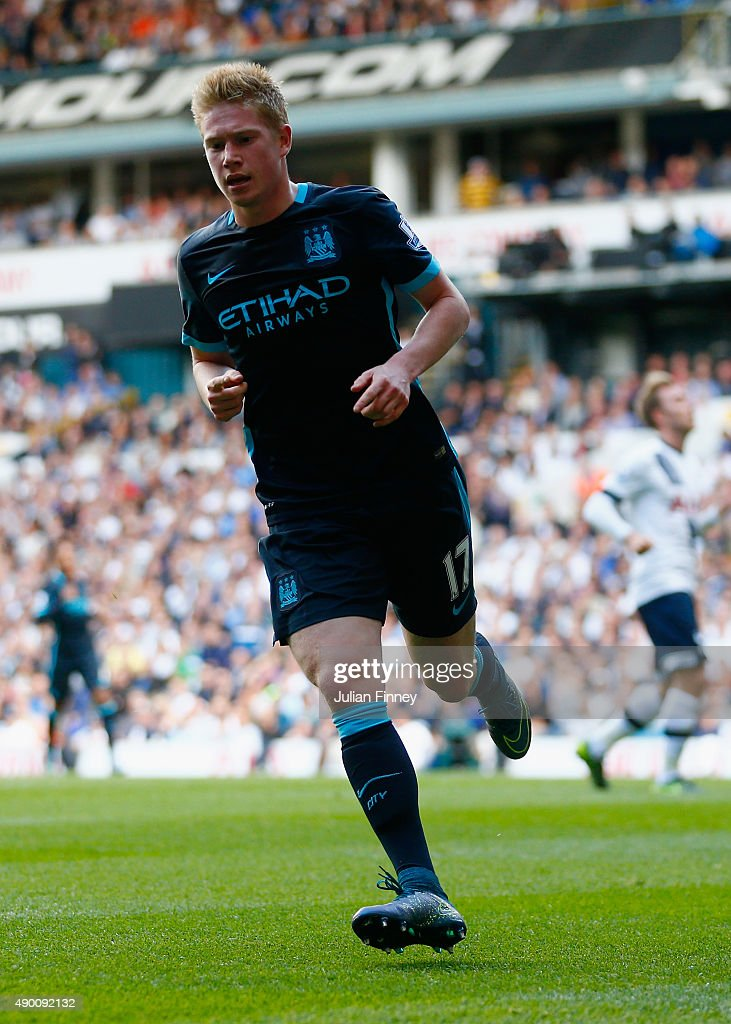 Kevin de Bruyne of Manchester City celebrates scoring his team's first goal during the Barclays Premier League match between Tottenham Hotspur and Manchester City at White Hart Lane on September 26, 2015 in London, United Kingdom.