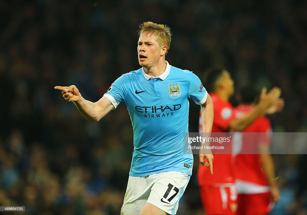 <a gi-track='captionPersonalityLinkClicked' href=/galleries/search?phrase=Kevin+De+Bruyne&family=editorial&specificpeople=6165471 ng-click='$event.stopPropagation()'>Kevin De Bruyne</a> of Manchester City celebrates scoring his team's second goal during the UEFA Champions League Group D match between Manchester City and Sevilla at Etihad Stadium on October 21, 2015 in Manchester, United Kingdom.